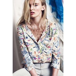 Anthro Maeve Cartography Button Down Top